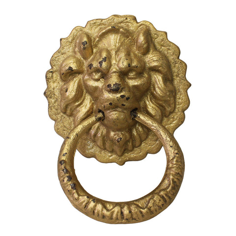 metal gold color foo dog door puller