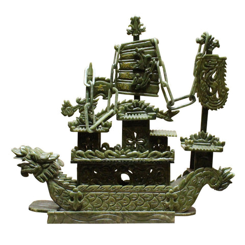Chinese green jade stone dragon boat
