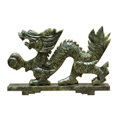 green stone dragon statue