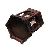 Oriental Vintage Inlay Hexagon Wood Brush Holder