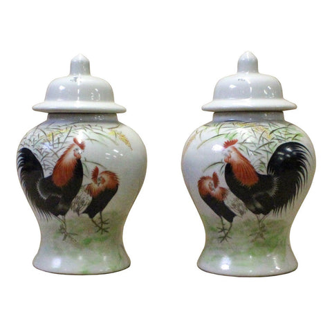 Pair Chinese Oriental Rooster Scenery Graphic Ceramic Container Jars