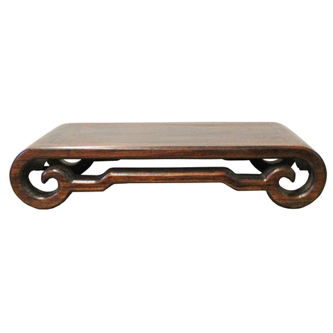 Chinese Brown Wood Scroll Rectangular Table Top Stand Display Easel cs3890S