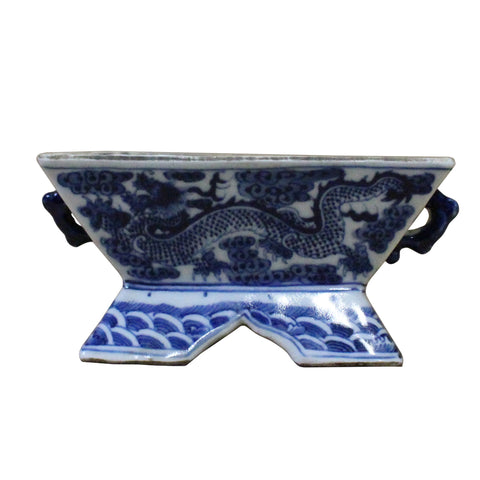 Chinese Blue & White Porcelain Graphic Rectangular Bowl Container cs3893S