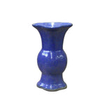 Chinese Oriental Ceramic Flower Shape Purple Blue Vase