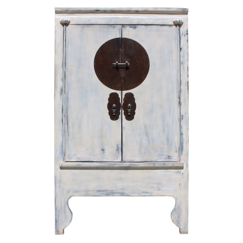 Chinese white color moon face armoire