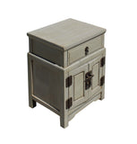 Chinese Distressed Light Gray Metal Hardware End Table Nightstand cs3917S