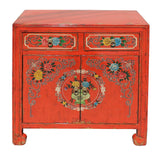 Chinese Distressed Orange Red Flower Graphic Table Cabinet cs3923S