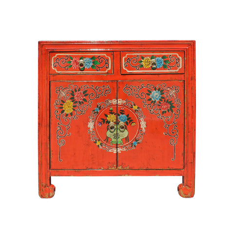 Mid size red color Chinese flower painting cabinet