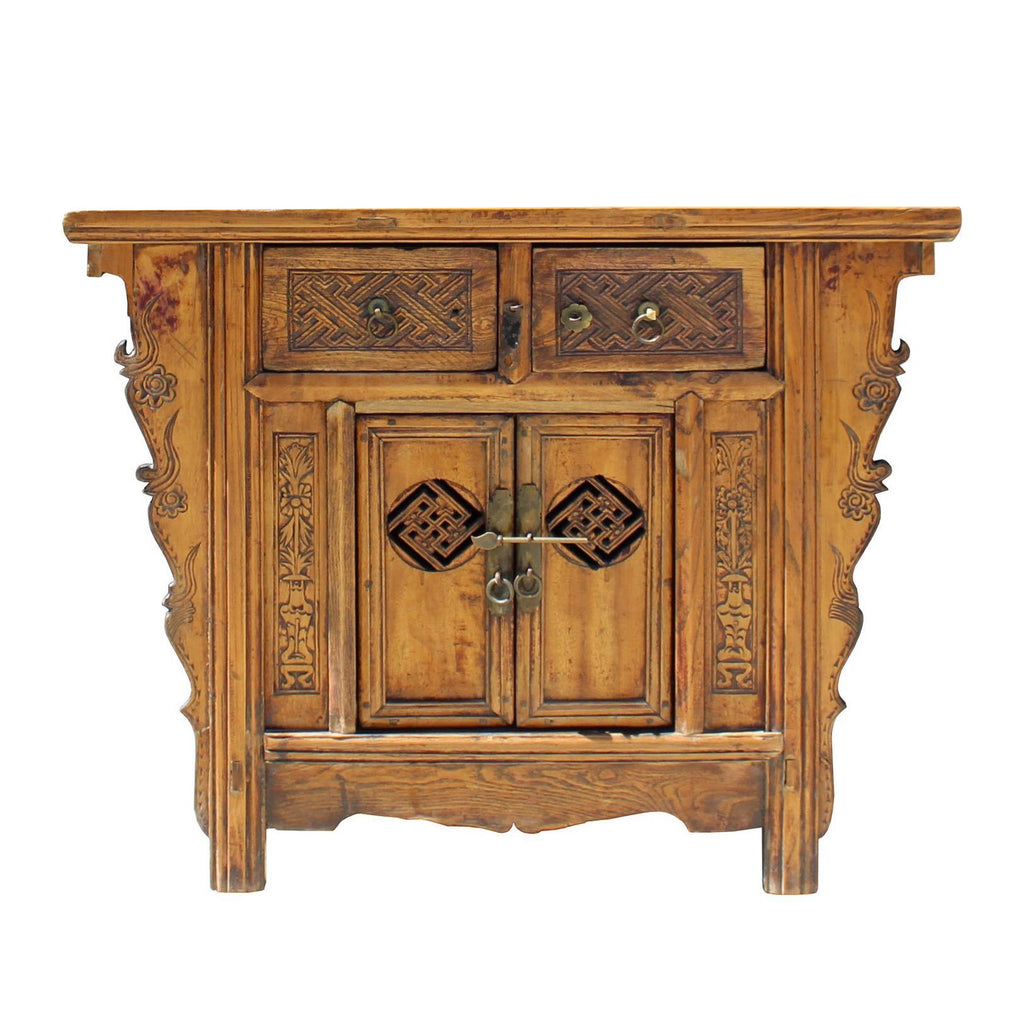 Chinese Side Table.Chinese Vintage 2 Drawers Carving Brown Side Table Cabinet Cs3948s