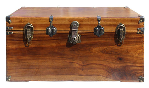 Oriental Chinese Brown Wood Iron Hardware Trunk Table cs3956S