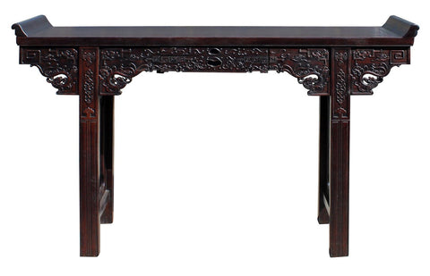 Chinese Brown Huali Rosewood Point Edge Relief Carving Altar Table cs3969S