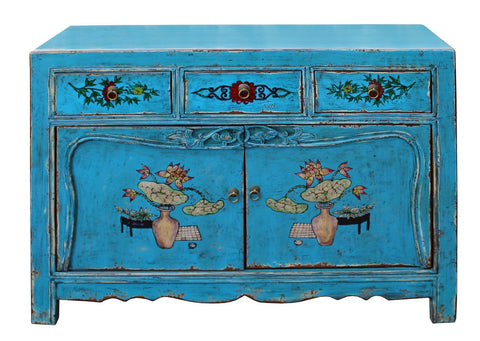 Chinese Distressed Bright Blue Flower Graphic Table Cabinet cs3972S