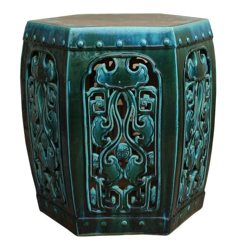 green clay garden stool