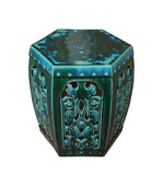 hexagon clay green color stool