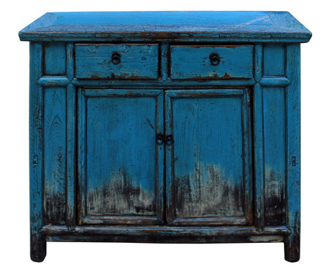 Chinese Distressed Bright Blue Side Credenza Table Cabinet cs3978S