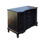 Chinese Black Vinyl Color Golden Scenery Credenza Cabinet Table cs3981S