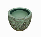 Chinese Ceramic Dragons Relief Motif Celadon Green Color Pot Planter cs3997S
