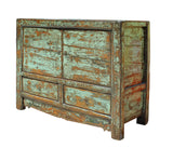 antique green tv cabinet
