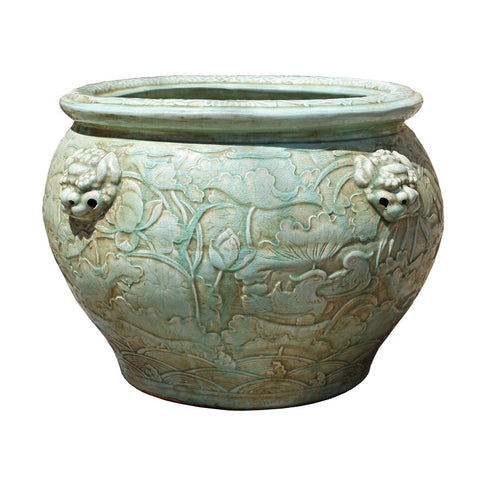 Chinese Ceramic Foo Dog Relief Motif Celadon Green Color Pot Planter