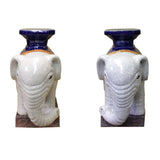 pair ceramic elephant vase stand