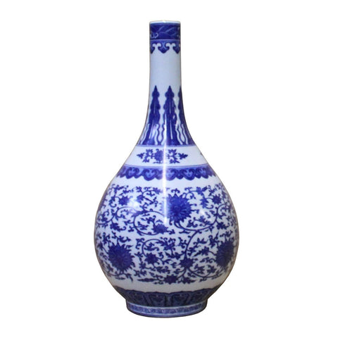 blue white porcelain vase with flower painting