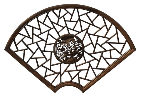 Chinese Fan Shape Lotus Flower Birds Theme Wood Wall Hanging Panel cs4049S