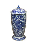 Chinese Blue White Porcelain Foo Dog Theme Urn Jar Container cs4051S