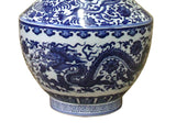 Chinese Blue White Porcelain Oriental Dragons Scenery Graphic Vase cs4068S