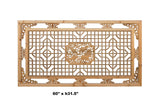 Chinese Rectangular Flower Fishes Geometric Wood Wall Decor cs4075S
