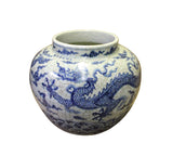 Chinese Blue Off White Crackle Porcelain Scenery Dragon Accent Vase cs4076S