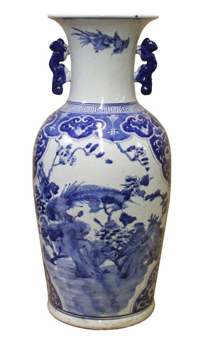 Chinese Blue & White Porcelain Oriental Phoenix Flowers Graphic Vase cs4077S