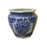 Chinese Blue White Dragon Flower Porcelain Octagon Pot Vase