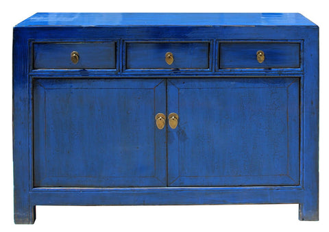 Oriental Distressed Rustic Blue Credenza Sideboard Buffet Table Cabinet  Cs4086S