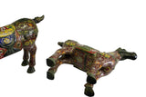 Pair Brown Enamel Cloisonne Metal Horse