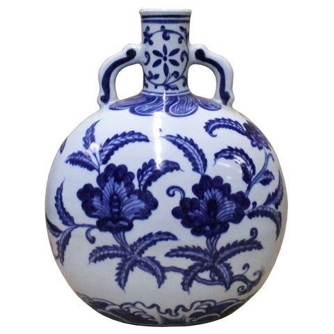 Chinese Blue White Porcelain Flower Graphic Fat Body Vase cs4101S