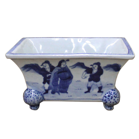 Chinese Blue & White Porcelain Graphic Rectangular Bowl Container cs4102S