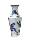 Chinese Blue White Porcelain Rhomboid Hexagon Scenery Vase cs4104S