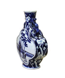 Chinese Blue White Porcelain People Theme Flower Shape Vase cs4106S