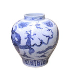 Chinese Blue White Porcelain Scenery Dragon Accent Vase cs4113S