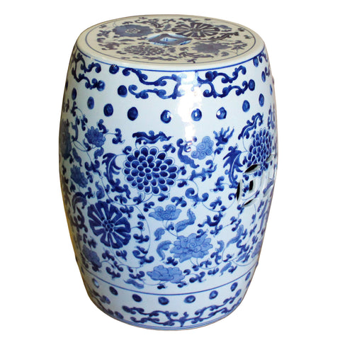 blue and white flowers ceramic stool