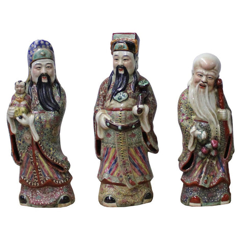 Chinese porcelain three wise man statue