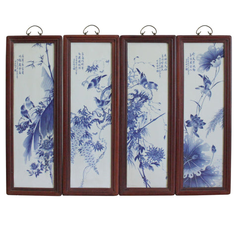Chinese Blue White Porcelain Flower Birds Scenery Wall Panel Set cs4152S