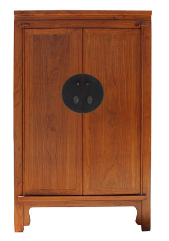 Chinese Brown Stain Wedding Armoire Wardrobe TV Cabinet cs4154S