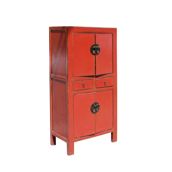 Chinese Distressed Rustic Orange Red Two Shelves Storage ...