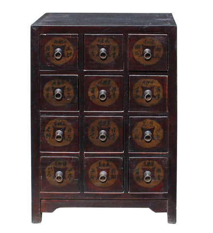 Chinese Distressed Brown 12 Drawers Medicine Apothecary Cabinet cs4161S