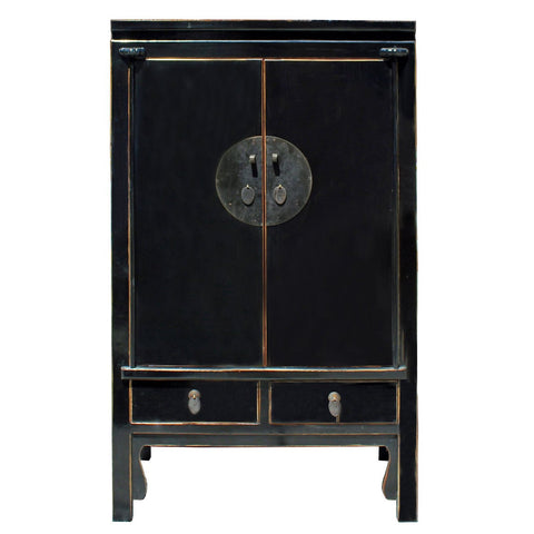 Chinese Distressed Black Tall Wedding Armoire Wardrobe TV Cabinet cs4172S