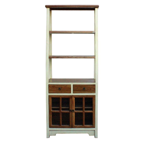 Chinese white color tall bookcase display cabinet