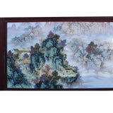 Chinese Rectangular Rosewood Porcelain Mountain Water Scenery Wall Plaque cs4188S