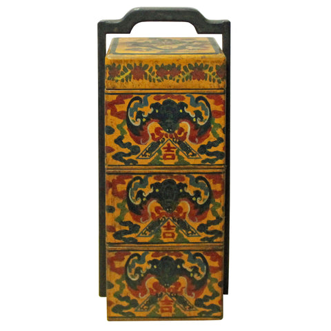 Chinese Yellow Lacquer Color Bats Floral Graphic Painting Box cs4199S
