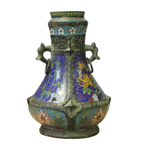 Chinese Metal Blue Enamel Cloisonne Flowers Theme Vase Display cs4205S